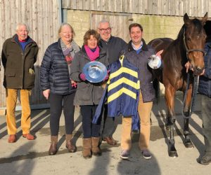 Owners visiting Mild Illusion at Jonathan Portman's Yard to celebrate her amazing season