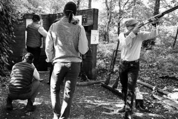 Alexander Robertson, Ian Bendell, Edward H-W, Samuel Anderson and Richard H-W at EJ Churchill Shooting Ground