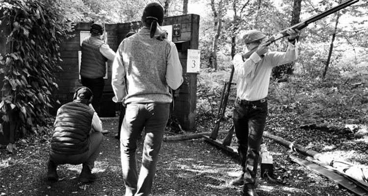 Alexander Robertson, Ian Bendell, Edward H-W, Samuel Anderson and Richard H-W at EJ Churchill Shooting Ground