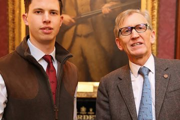 Edward Benson (Temple 08) and Geoff Brown (Grafton 74) in the Long Room at Purdey's Mayfair shop on South Audley Street