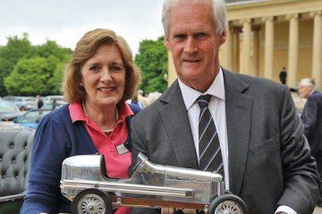 Caroline Whitlock receiving her retirement gift from John Arkwright