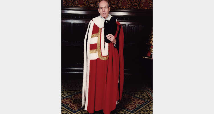 Leonard Cheshire in his peers robes at the investiture of Leonard Cheshire as Baron Cheshire of Woodhall