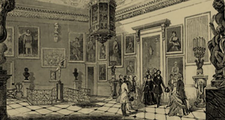 The Illustrated London News image of Queen Victoria and Prince Albert leaving Stowe on 18 January 1845. The Laocoön bronze statue is on the right of the engraving